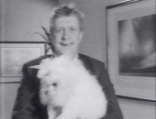 Mark Williams and a poodle