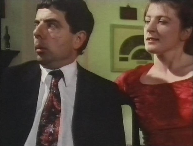 Felicity Montagu and Rowan Atkinson