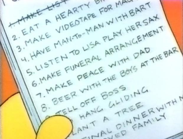 Homer's Bucket List